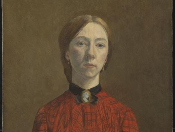 Image of Gwen John's self portrait 1902. A woman is wearing a red dress, with a broach at the collar, and is staring straight ahead. Purchased 1942 http://www.tate.org.uk/art/work/N05366