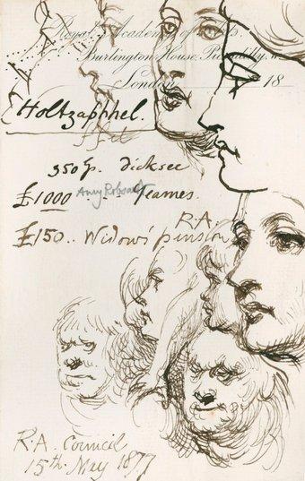 Image of sketches made by Sir John Gilbert RA, Sketches and notes made at a Royal Academy Council meeting, 15 May 1877