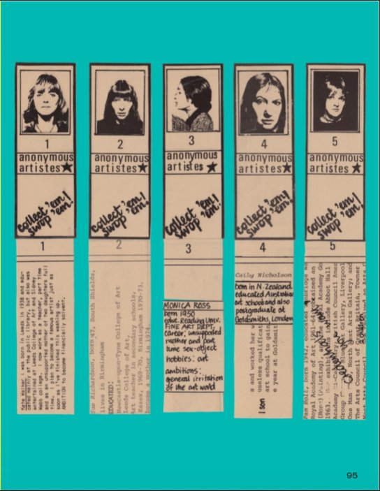 Image of Kate Walker's: Notoriously Anonymous Artistes of 1977, 1977. Five newspaper style cuttings of women artists, with brief provocative biographies are listed below the image of each artist.