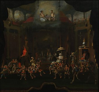 Image of Willem Schellinks' painting: Parade of the Sons of Shah Jahan on Composite Horses and Elephant.