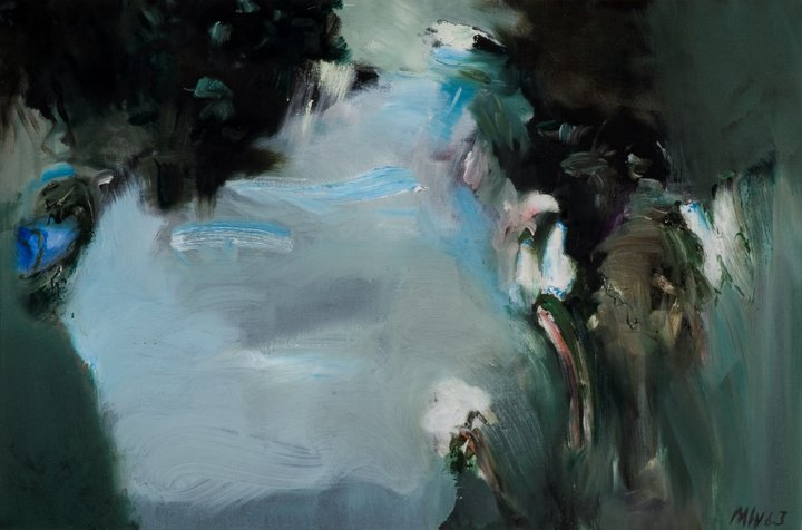 Image of John Michael Wishart's painting: Moths on a Blue Path.