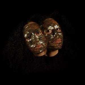 Photograph of Ashanti Harris. Headshots of the artist wearing sequin masks.