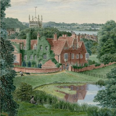 A painted scene of a large manor house, a lake, a church in the ckground and a town beyond.