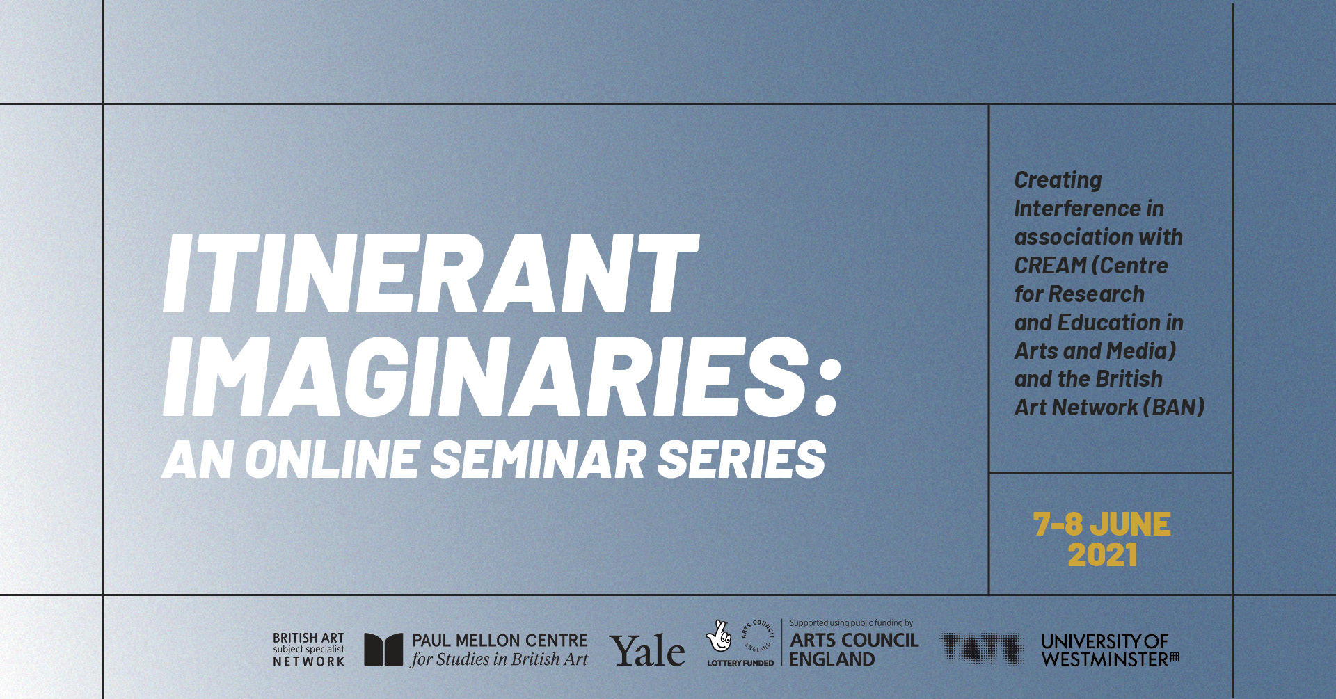 Flyer image with details of Itinerant Imaginaries seminar